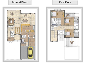 3 bed townhouse floor plan
